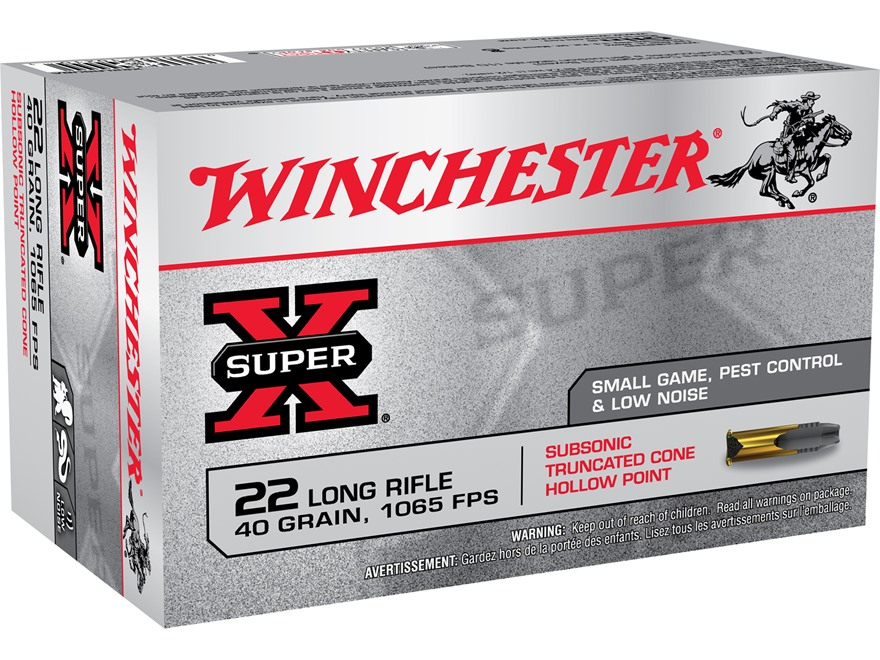 Winchester Super-X 22 Long Rifle 40 Grain Truncated Cone Hollow Point  Subsonic Box of 50