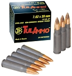 TulAmmo FMJ AK  Grain 124 Grain 7.62 x 39mm AK Round Round Box Steel Cased Polymer Coated 20 Round Box