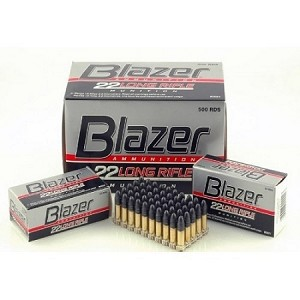 Blazer Ammunition 22 Long Rifle 40 Grain Lead Round Nose 500 Brick (Qty 10 Boxes of 50 Rounds)