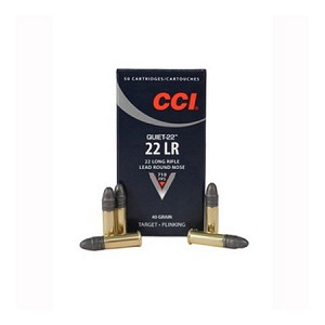 CCI Quiet Ammunition 22 Long Rifle 40 Grain Lead Round Nose Subsonic Box of 50