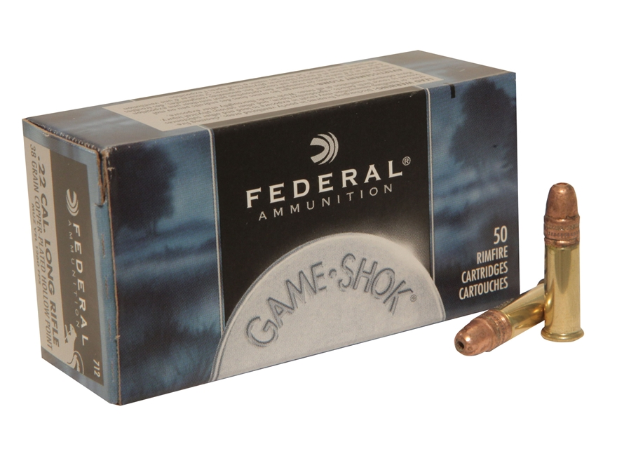 Federal Game-Shok Ammunition 22 Long Rifle High Velocity 38 Grain Plated Lead Hollow Point Brick of 500 Rounds (10 Boxes of 50 Rounds) - LIMIT 2 PER ORDER