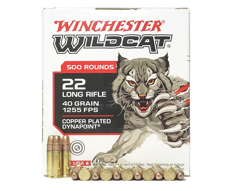 Winchester Wildcat Ammunition 22 Long Rifle 40 Grain Copper Plated Dynapoint  (Brick of 500) - Limit 2 Per Order