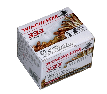 Winchester Ammunition 22 Long Rifle 36 Grain Plated Lead Hollow Point (Brick of 333 Rounds) - Limit 4 per Order